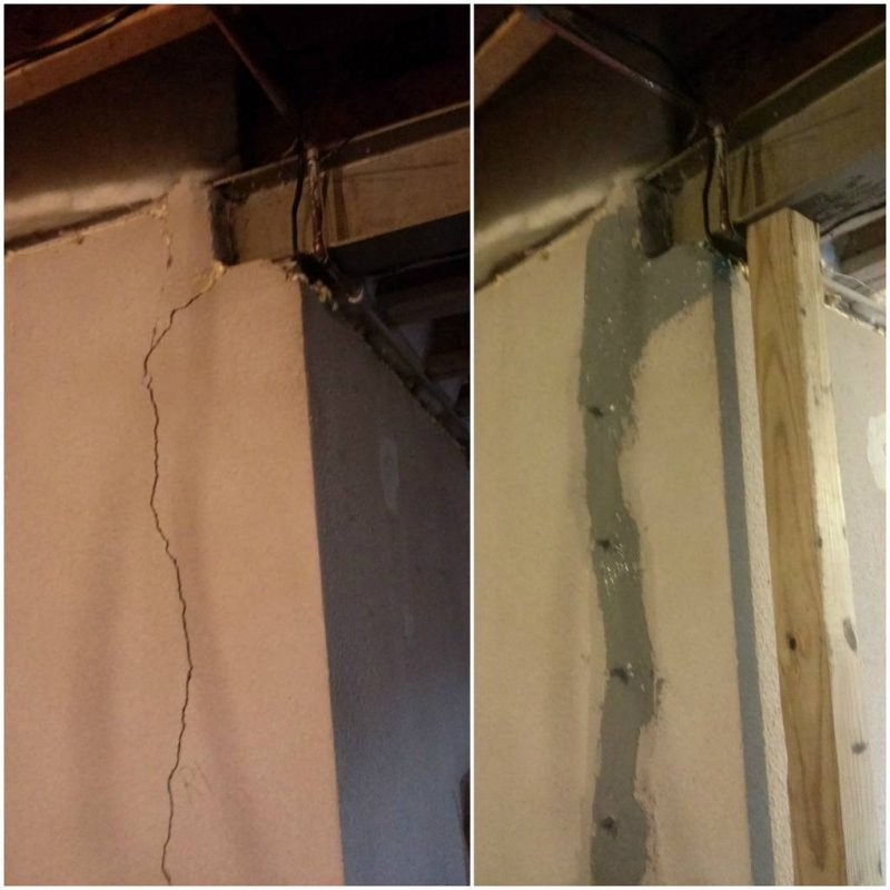 basement crack repair before and after images in michigan